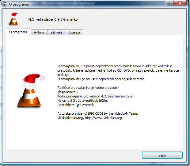 VLC - about