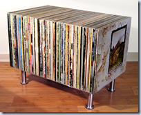 LP sleeves side table